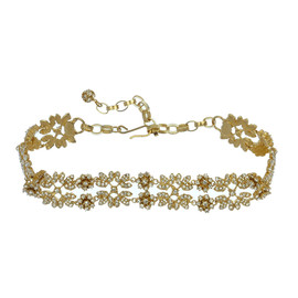 Ciner For Sophie Ornate Gold Crystal Choker