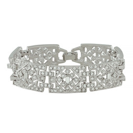 Kenneth Jay Lane Wide Deco Crystal Link Bracelet