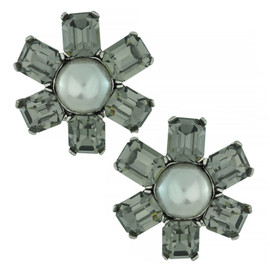 Ciner Gunmetal Pearl Flower Earrings