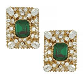 Ciner Emerald Ornate Rectangle Earrings