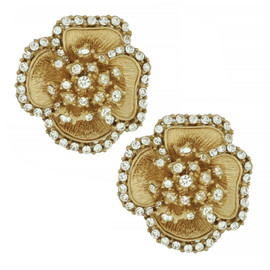 Ciner Crystal Flower Brushed Texture Gold Earrings