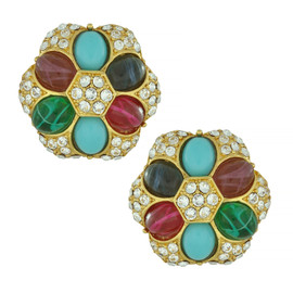 Ben-Amun Regal Crystal Button Earrings