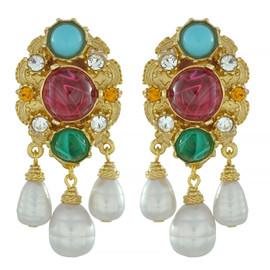Ben-Amun Regal Triple Pearl Drop Earrings