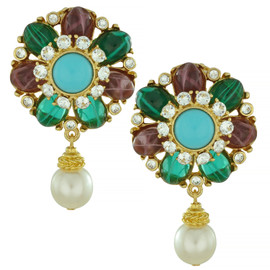 Ben-Amun Regal Gem Pearl Drop Earrings