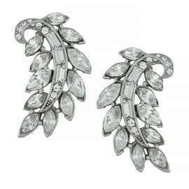 Ben-Amun Silver Fern Crystal Earrings