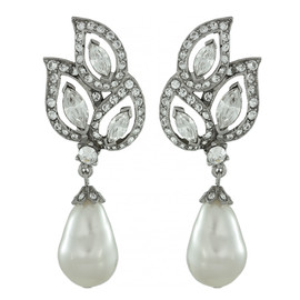 Ben-Amun Crystal Leaf Pearl Drop Earrings