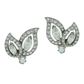 Ben-Amun Crystal Leaf Earrings