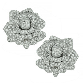Kenneth Jay Lane Pave Crystal Flower Earrings