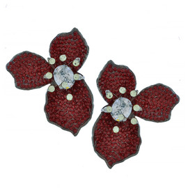 Mei's Jewelry Three Petal Ruby Flower Earrings