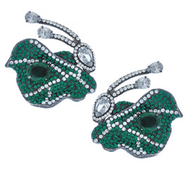 Mei's Jewelry Green Emerald Butterfly Earrings