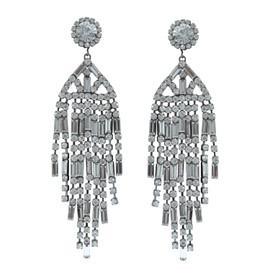 Kenneth Jay Lane Gunmetal Crystal Waterfall Earrings