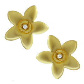 Kenneth Jay Lane Satin Gold Flower Earrings