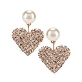 Jennifer Behr Valentine Pearl Crystal Heart Earrings