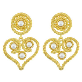 Kenneth Jay Lane Pearl Rope Heart Drop Earrings
