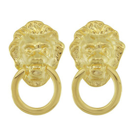 Kenneth Jay Lane Gold Lion Doorknocker Earrings