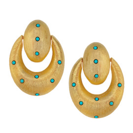 Kenneth Jay Lane Gold Turquoise Doorknocker Earrings
