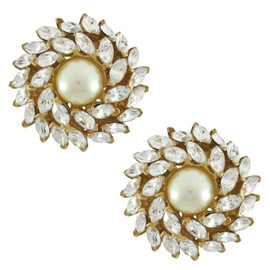 Ciner Pearl Crystal Flower Button Earrings