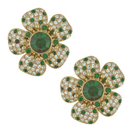 Ciner Five Petal Emerald Flower Earrings