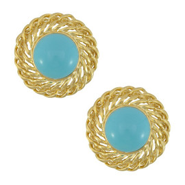 Kenneth Jay Lane Large Turquoise Gold Chain Earrings