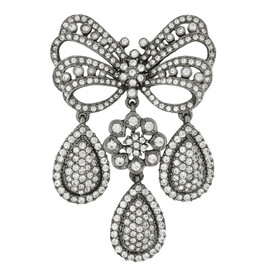 Ciner Crystal Gunmetal Bow Drop Brooch