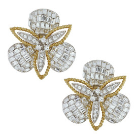 Ciner Crystal Baguette Flower Petal Earrings