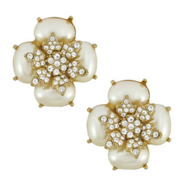 Ciner Pearl Crystal Cabochon Flower Earrings