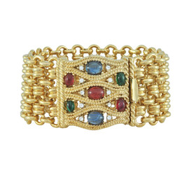 Ciner Multicolored Cabochon Gold Bracelet