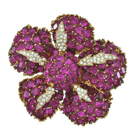 Ciner Fuchsia Crystal Flower Brooch
