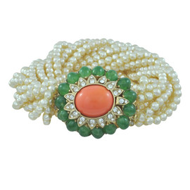 Ciner Jade and Coral Cabochons Pearl Bracelet