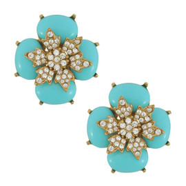 Ciner for Sophie Turquoise Crystal Flower Earrings