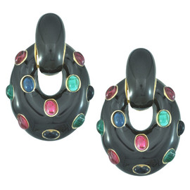 Ciner Black Oval Drop Multi Cabochon Earrings
