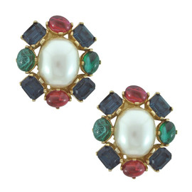 Ciner Pearl Multi Cabochon Earrings