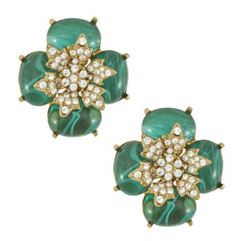 Ciner Emerald Crystal Flower Earrings