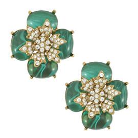 Ciner Emerald Crystal Flower Earrings
