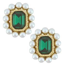 Ciner Emerald Pearl Octagan Earrings