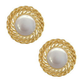 Kenneth Jay Lane Large Pearl Gold Chain Earrings