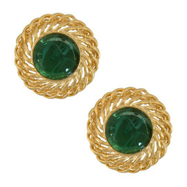 Kenneth Jay Lane Large Emerald Gold Chain Earrings