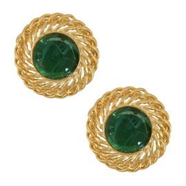 Kenneth Jay Lane Large Emerald Gold Chain Earrings
