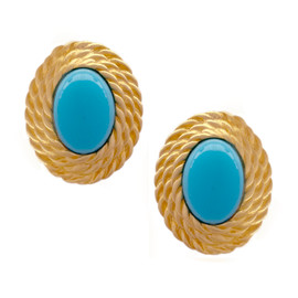 Kenneth Jay Lane Oval Turquoise Braided Earrings