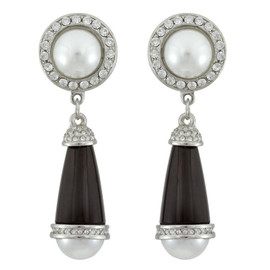 Kenneth Jay Lane Black Art Deco Pearl Crystal Drop Earrings