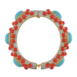 Kenneth Jay Lane Large Turquoise Coral Bangle