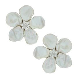 Mei's New York Keshi Pearl Flower Earrings