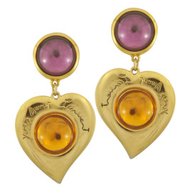 Vintage Yves Saint Laurent Glass Heart Earrings