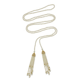Ciner Double Tassel Pearl Necklace