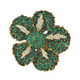 Ciner Emerald Crystal Flower Brooch