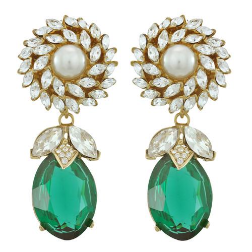 Ciner for Sophie Emerald Pearl Drop Earrings
