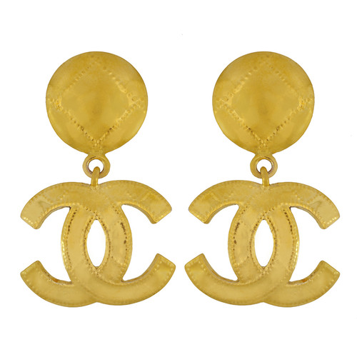 Vintage Chanel Quilted CC Logo drop Earrings