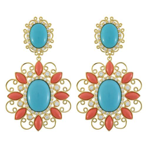 Kenneth Jay Lane CZ Moroccan Scroll Earrings