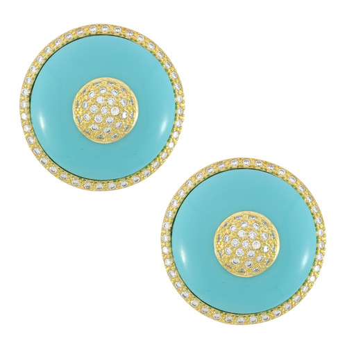 Kenneth Jay Lane CZ Pave Turquoise Bullseye Earrings