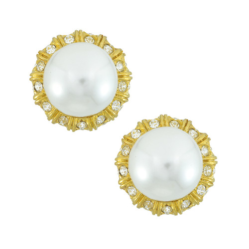 Kenneth Jay Lane Gold Crystal Pearl Button Earrings